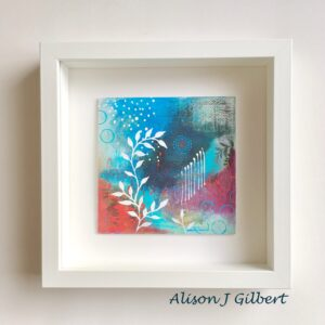 MMB 15 19019F 300x300 - Small, blue/green mixed media art in white frame: 33 after Monet