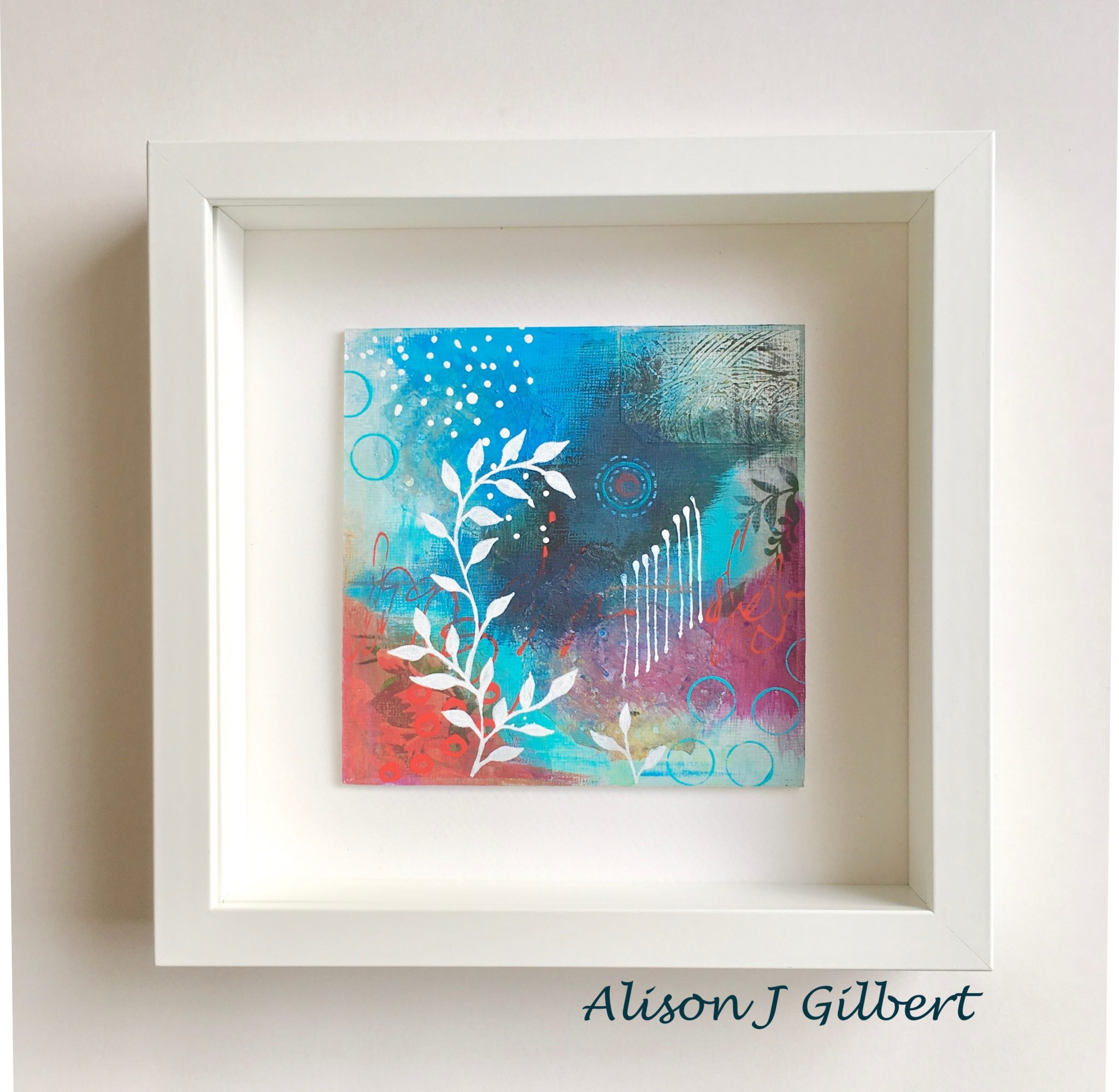 MMB 15 19019F - Framed small, blue and red abstract mixed media art (19)