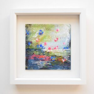 DSC 6041 300x300 - Small, blue, mixed media art, in white frame :  blue abstract water floral (37)