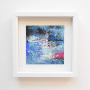 DSC 6052 300x300 - Small, framed, mixed media abstract art, Indigo and gold with ceramic word tag 'imagine'
