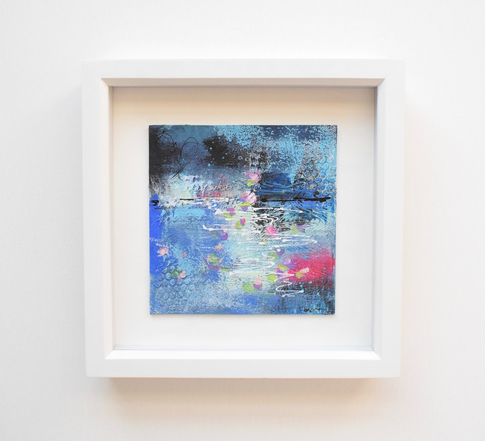 DSC 6052 - Small, blue, mixed media art, in white frame :  blue abstract water floral (37)