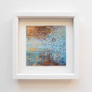 DSC 6061 300x300 - Small, framed, mixed media abstract art, Indigo and gold with ceramic word tag 'imagine'