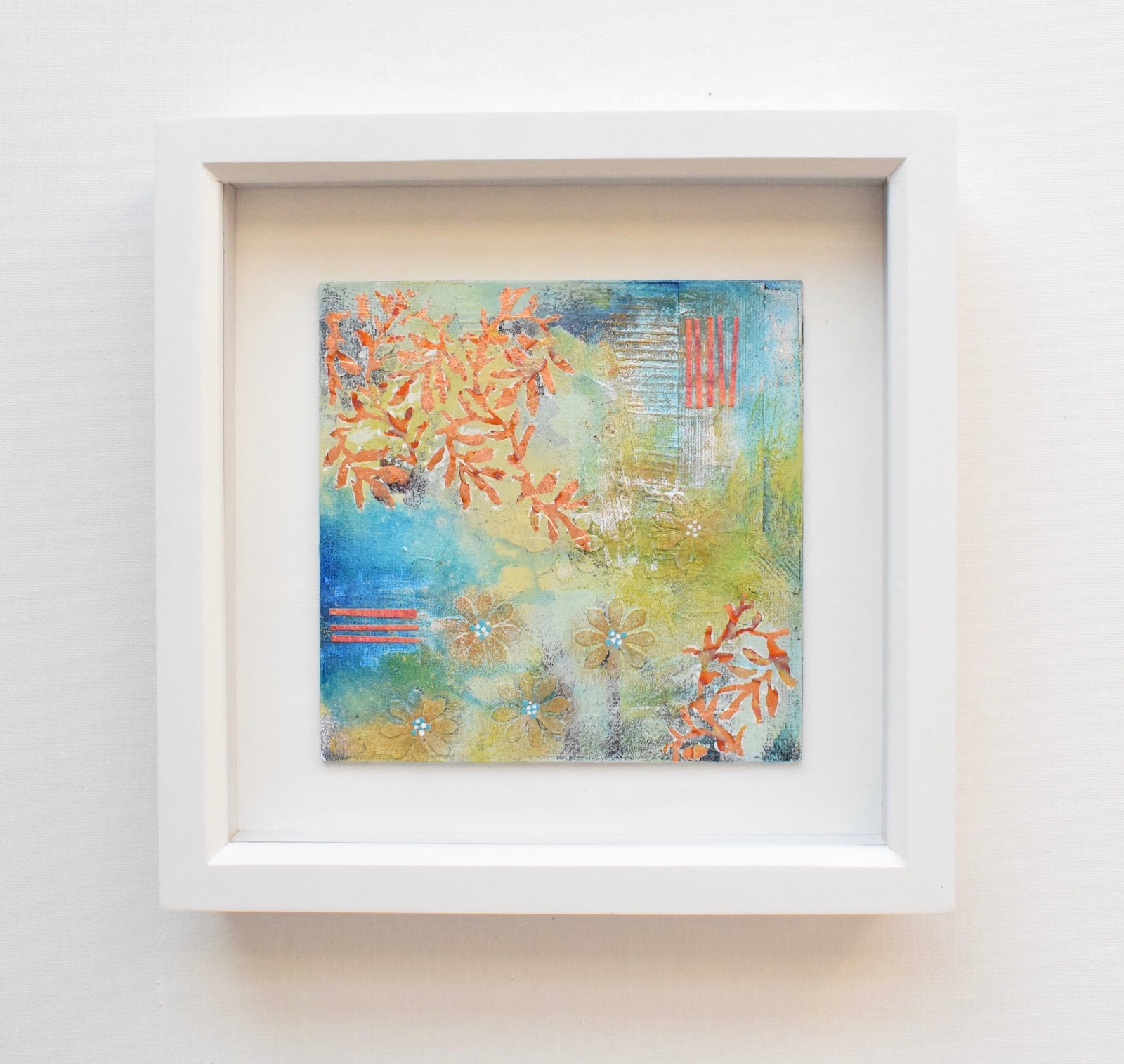 DSC 6072 - Small, mixed media abstract art, aqua and gold in white frame(40)